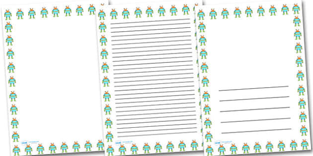 Alien Portrait Page Borders- Portrait Page Borders - Page border, border, writing template, writing aid, writing frame, a4 border, template, templates, landscape