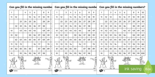 Winter Themed Missing Numbers Number Square