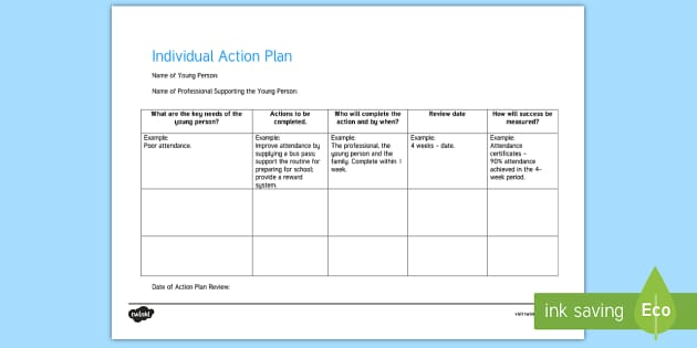 Individual Action Plan Young People Families Case File – Individual Action Plan Template