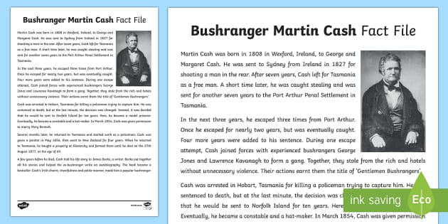 Bushranger Martin Cash Fact Sheet-Australia