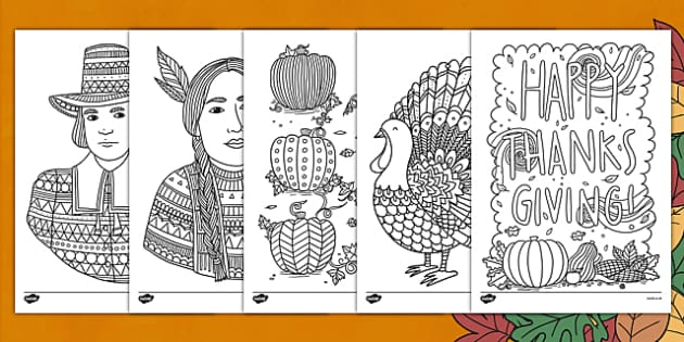 Thanksgiving Themed Mindfulness Colouring Sheets - colouring, pd, fine motor skills, well being, stress, relax, unwind, early years, ks1, ks2, art, home learning, display, USA, american, holidays,