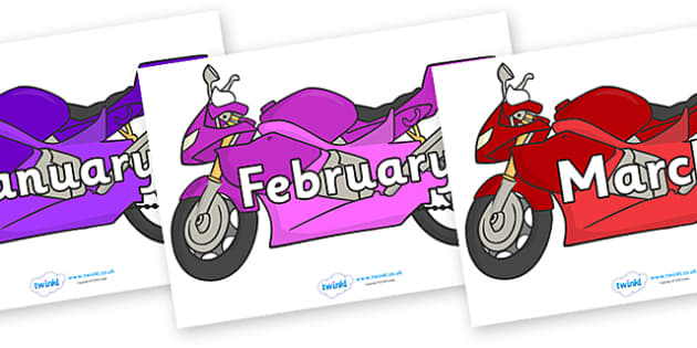 Months of the Year on Motorbikes - Months of the Year, Months poster, Months display, display, poster, frieze, Months, month, January, February, March, April, May, June, July, August, September