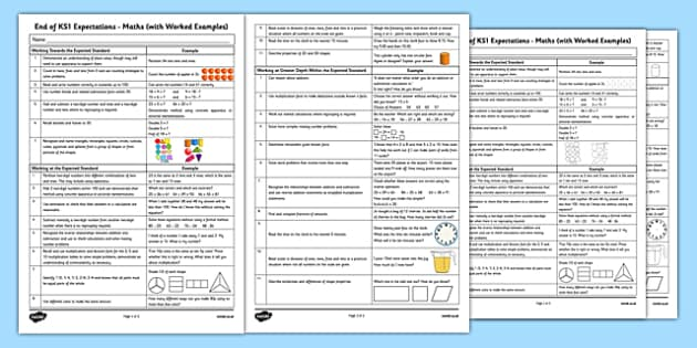 End of KS1 Expectations Maths with Worked Examples - Assessments, maths, numeracy, KS1, key stage 1, one, examples, evidence, levelling, progress, monitoring