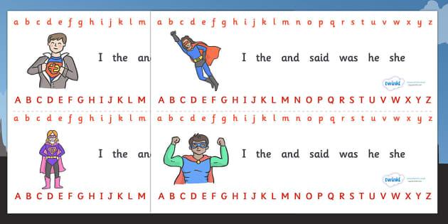 Alphabet Strips (Superhero) - Alphabet, Learning letters, Writing aid, Writing Area, Superhero, superheroes, hero, batman, superman, spiderman, special, power, powers, catwoman, liono, he-man