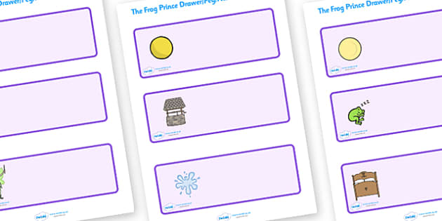 The Frog Prince Editable Drawer Peg Name Labels - Frog, princess, prince, evil fairy, splash, kiss, well, king, bed, sleep, golden ball, beautiful, fell, Resource Labels, Name Labels, Editable Labels, Drawer Labels, Coat Peg Labels, Peg Label, KS1 La
