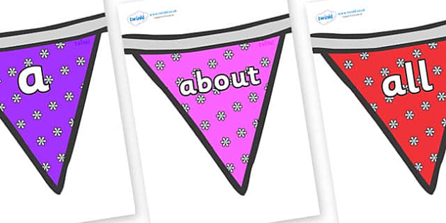 100 High Frequency Words on Bunting (Flowers 1) - High frequency words, hfw, DfES Letters and Sounds, Letters and Sounds, display words
