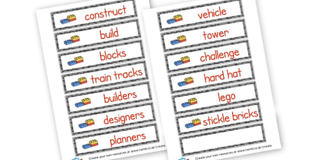 Construction Vocabulary Cards - Construction Area Primary Resources, signs, area, zones, banner