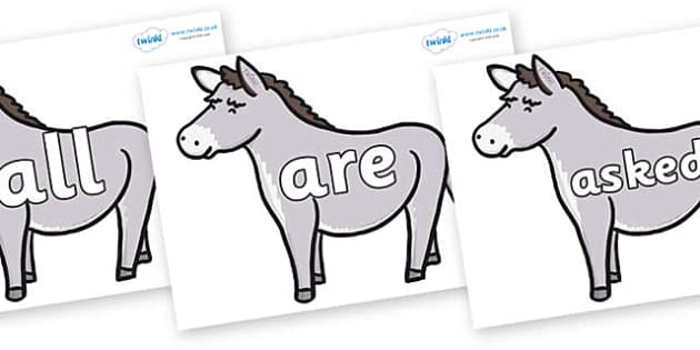 Tricky Words on Donkeys - Tricky words, DfES Letters and Sounds, Letters and sounds, display, words