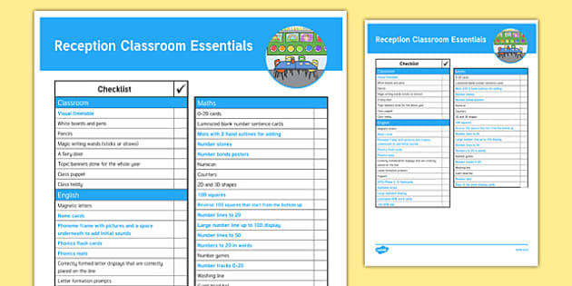 Reception Classroom Essentials Checklist