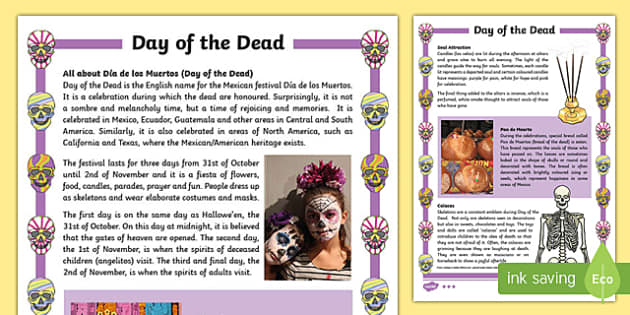 Day of the Dead Differentiated Fact File - day of the dead, dia de los muertos, differentiated, fact file, information, activity