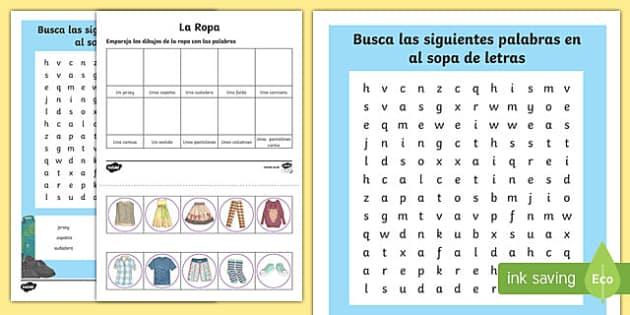 Spanish Clothes 3 Activity Sheet, worksheet