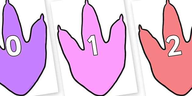 Numbers 0-31 on Dinosaur Footprint - 0-31, foundation stage numeracy, Number recognition, Number flashcards, counting, number frieze, Display numbers, number posters