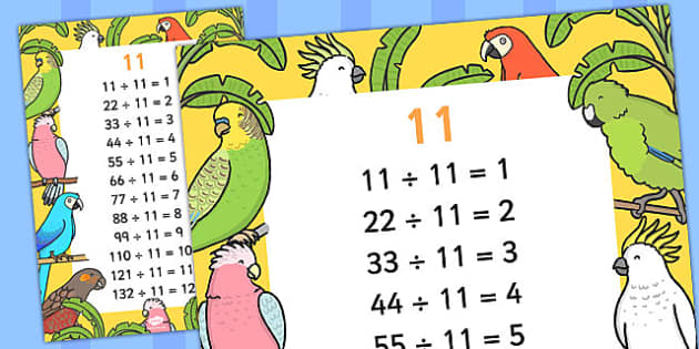 11 Times Table Division Facts Display poster - posters, displays