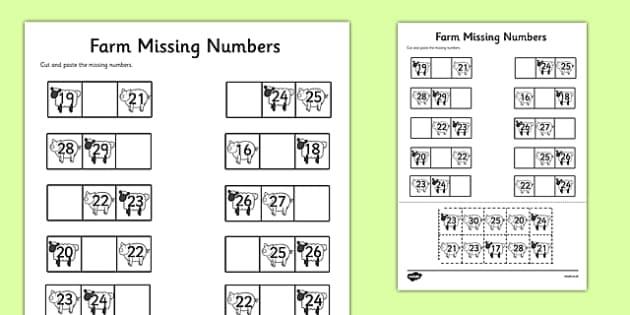 Farm Themed Missing Numbers Worksheet 20-30 - farm, missing numbers, worksheet, 20-30, missing, numbers