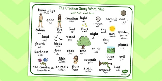 Adam and Eve Creation Story Word Mat Arabic Translation - arabic