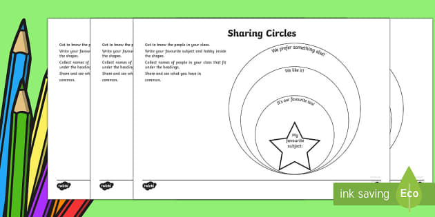 Sharing Circles Back to School Activity Sheets - Back to School worksheet, activity sheet, getting to know you, class introduction, new class, start