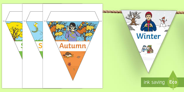 Four Seasons Display Bunting with British Sign Language - british sign language, bsl, sign language, british, four seasons, four, seasons, spring, summer, autumn, winter, signs, display, bunting, display bunting