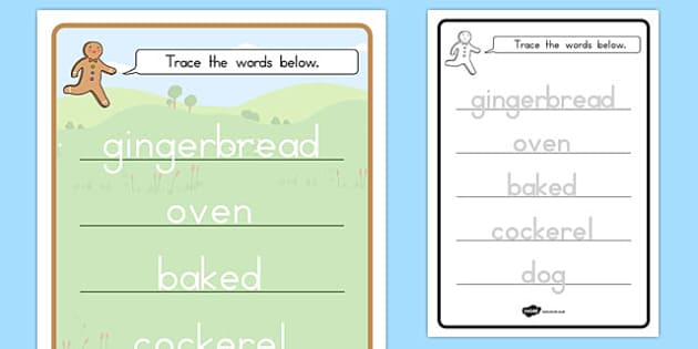 The Gingerbread Man Trace the Words Worksheet - gingerbread, man, traditional tales, fine motor, handwriting, words, writing