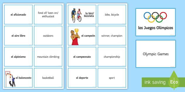 Sports Vocabulary Matching Cards - Spanish, Vocabulary, sports, matching, cards, free time