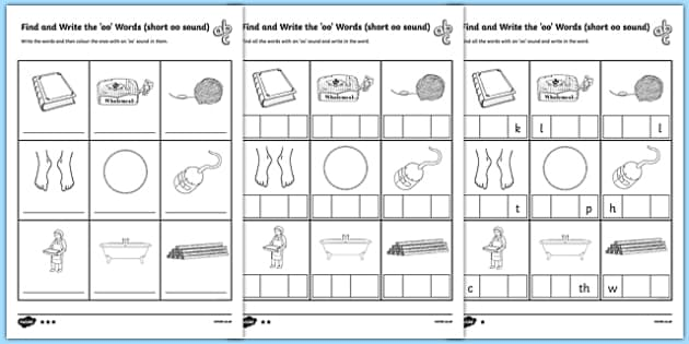 Find and Write the Short oo Sound Words Differentiated Activity Sheet Pack, worksheet, long u sound