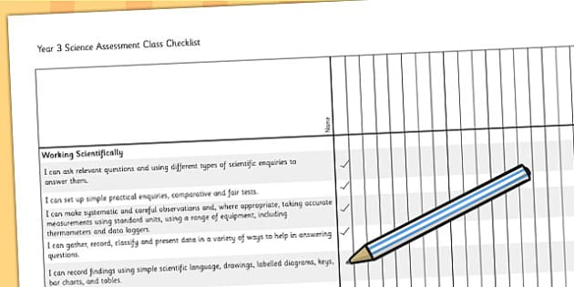 2014 Curriculum Year 3 Science Assessment Class Checklist - target