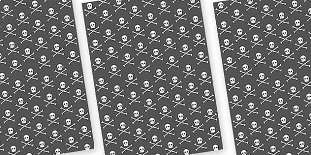 Pirate Skull and Cross Bones A4 Sheet - pirates, skull and cross bones, skull and cross bones sheets, skull and cross bones display image sheets, display