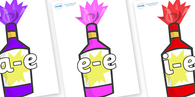 Modifying E Letters on Party Poppers - Modifying E, letters, modify, Phase 5, Phase five, alternative spellings for phonemes, DfES letters and Sounds
