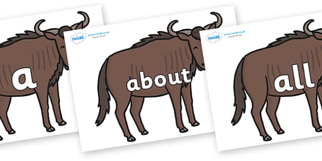 100 High Frequency Words on Wildebeests - High frequency words, hfw, DfES Letters and Sounds, Letters and Sounds, display words