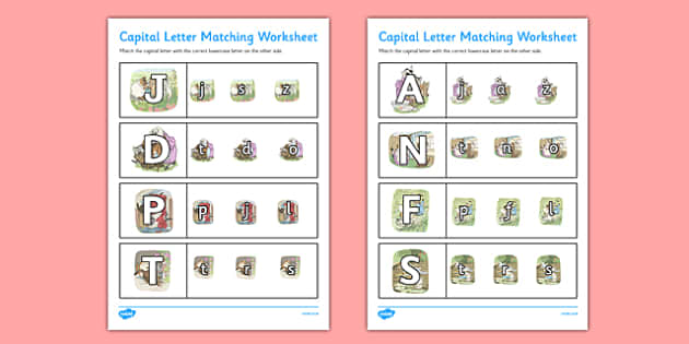 Beatrix Potter - The Tale of Tom Kitten Themed Capital Letter Matching Worksheet - beatrix potter, tom kitten
