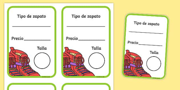Etiquetas de caja de zapato La zapatería - tienda, vender, juego simbólico