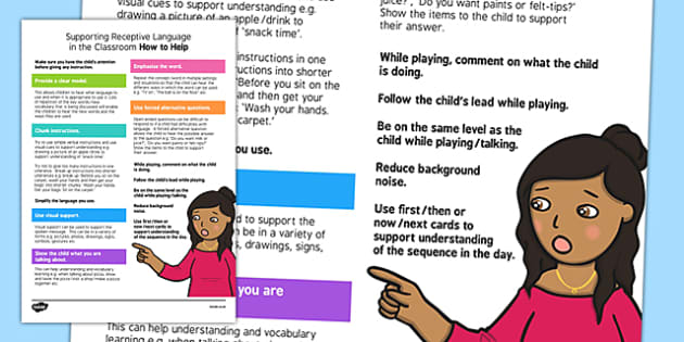 Supporting Receptive Language in the Classroom Strategy Sheet