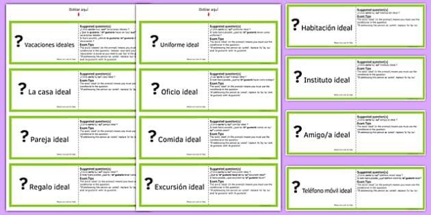 Tarjetas para Practicar Preguntas en Condicional GCSE Spanish - spanish, asking questions, preguntas, practice, speaking, cards, ideal, conditional, GCSE Spanish