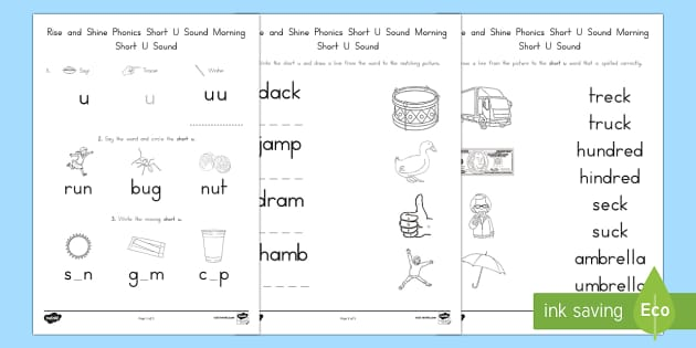 Rise and Shine Phonics Short U Sound Morning Activity Sheets – Rise over Run Worksheets