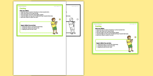 Foundation PE (Reception) - Catching Teacher Support Card - EYFS, PE, Physical Development