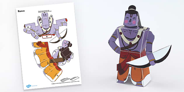 Diwali Paper Toy Character Rama - festivals, paper craft, craft