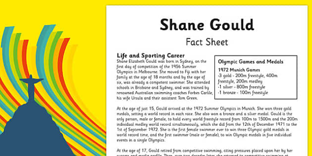 Australian Olympic Athletes Fact Sheet Shane Gould - Australia, Olympic Games, Olympics, Paralympics, Athletes, Information, Fact Sheet, Reading Comprehension, Year 6 History