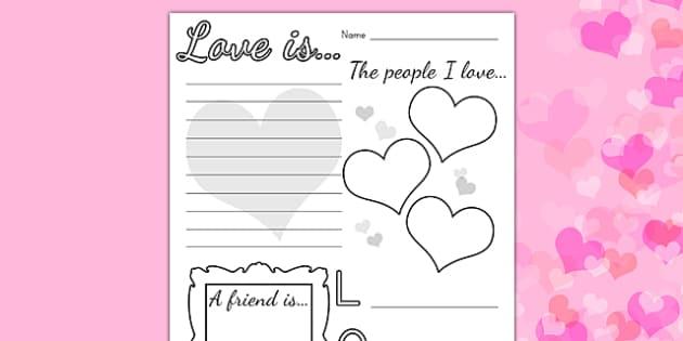 Valentines Day Worksheet - valentines day, valentines, love
