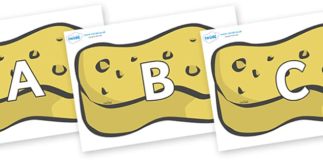 A-Z Alphabet on Sponges - A-Z, A4, display, Alphabet frieze, Display letters, Letter posters, A-Z letters, Alphabet flashcards