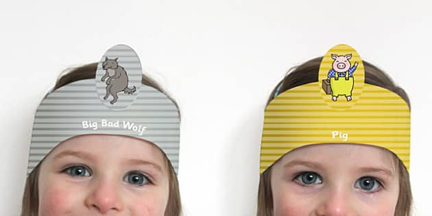 The Three Little Pigs Role Play Headbands - story books, roleplay