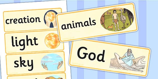 Jewish Christian Creation Story Word Cards - religion, visual aid