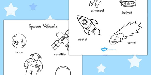 Space Words Colouring Sheets - australia, activity, colouring