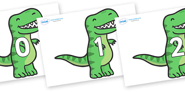 Numbers 0-31 on T Rex Dinosaurs - 0-31, foundation stage numeracy, Number recognition, Number flashcards, counting, number frieze, Display numbers, number posters