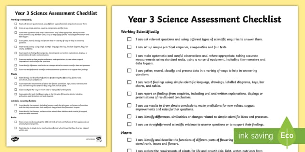 2014 Curriculum Year 3 Science Assessment Individual Checklist
