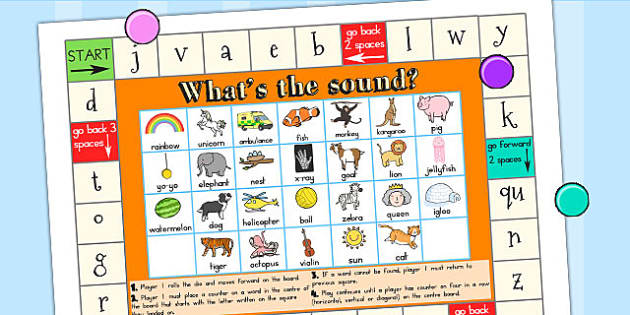 Initial Sounds Board Game A3 - sound, sound games, games, sounds