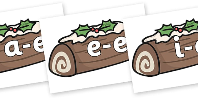 Modifying E Letters on Christmas Logs - Modifying E, letters, modify, Phase 5, Phase five, alternative spellings for phonemes, DfES letters and Sounds
