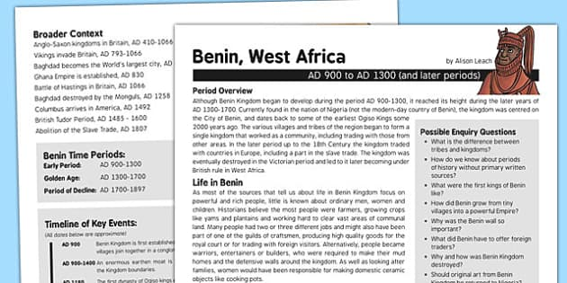 Benin West Africa History Fact Sheet for Adults - benin west africa
