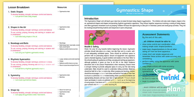 PlanIt PE Year 3 Gymnastics: Shape Unit Overview - Gymnastics, Shape, Y3, KS2, PlanIt, PE, physical education, year three, year 3, indoor PE, movement,