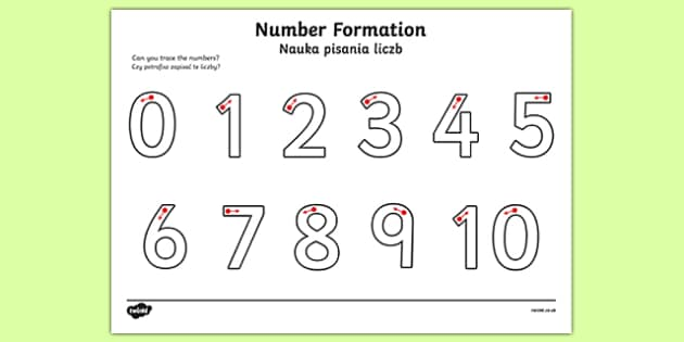 Number Formation Activity Sheet 0 10 Polish Translation-Polish-translation, worksheet