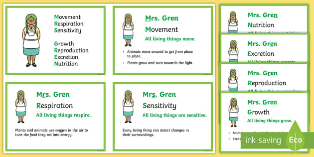 Mrs Gren Life Process Characteristic of Living Things Flash Cards