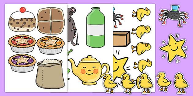 Nursery Rhyme Shop Role Play Cut Outs - nursery rhyme shop, role-play, cut outs